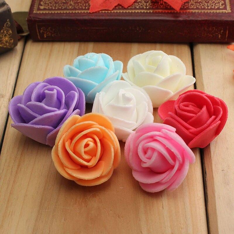 迷你PE泡沫玫瑰仿真花婚車裝飾DIY絨球花環裝飾情人節假花100PCS