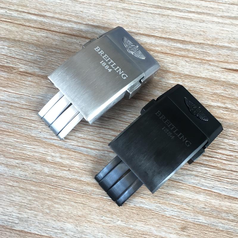 YF 代用Breitling百年靈表扣原裝尼龍硅膠橡膠帶折疊扣20mm銀色黑色e