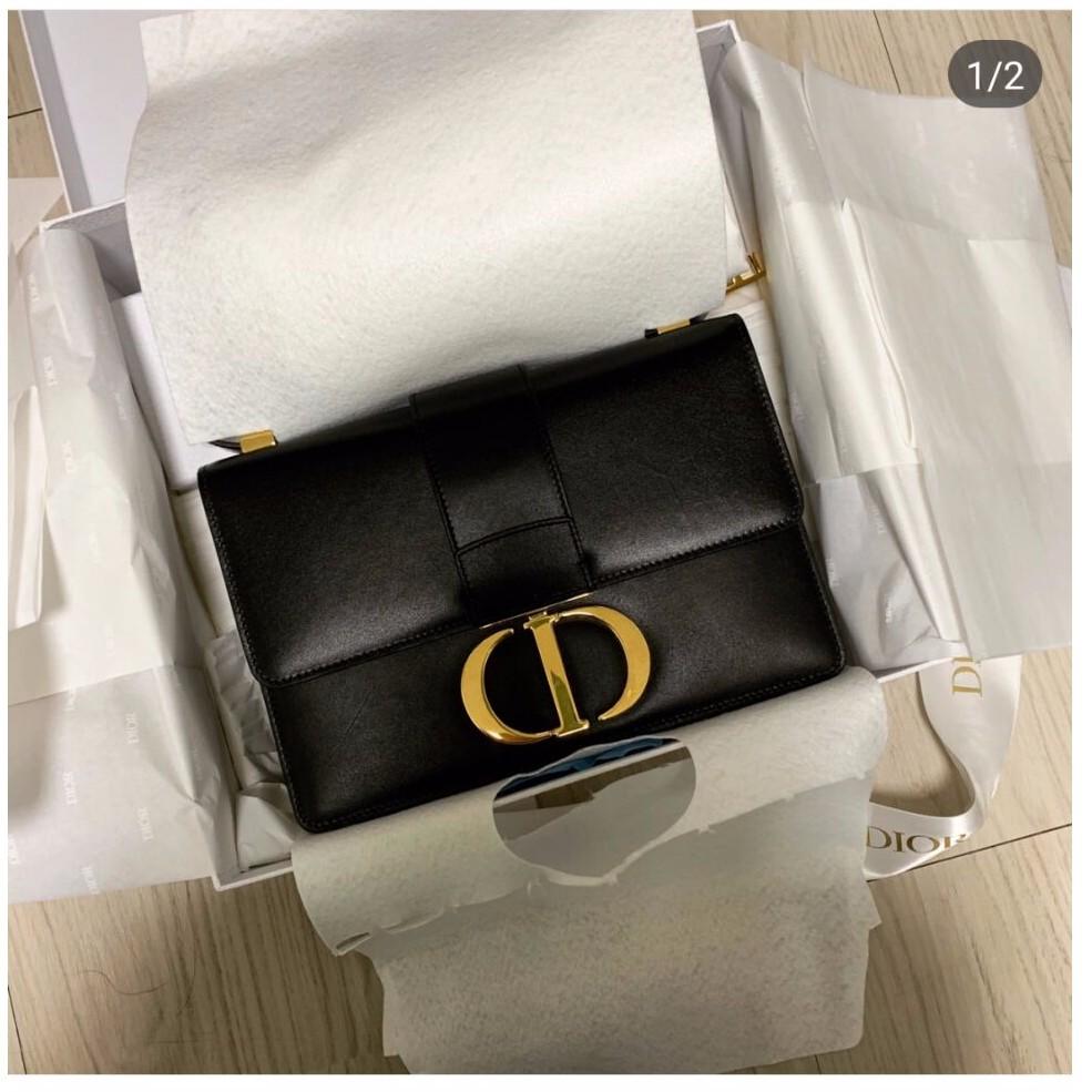 全新正品 DIOR 蒙田包 30 Montaigne Dior Oblique 黑色 小牛皮款 翻蓋式包款