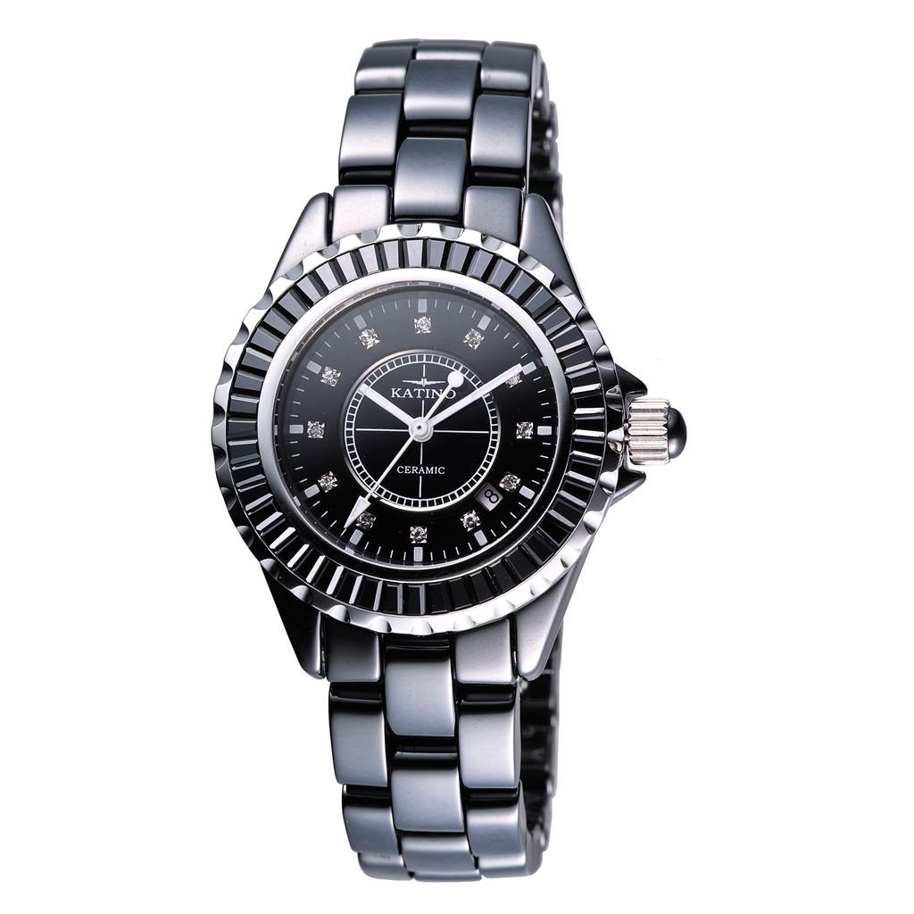 【KATINO】黑面黑圈鑲刻鍍鑽陶瓷石英錶K303BZB