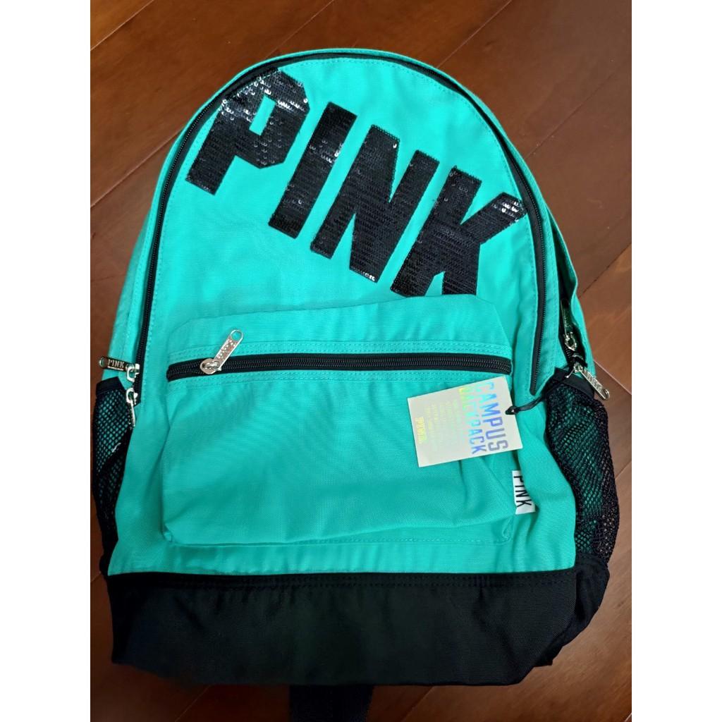 全新 PINK 藍綠色多隔層後背包