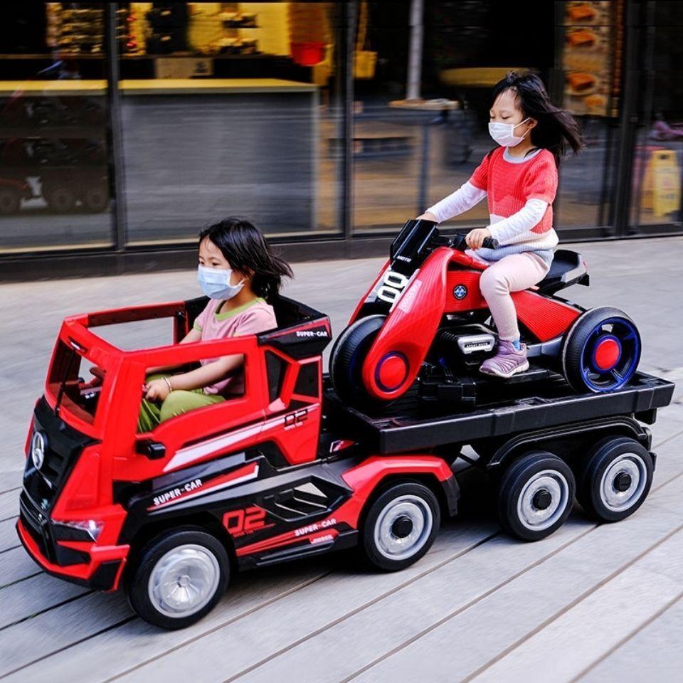 臺灣出貨 兒童電動拖車 卡車頭 可坐人 四輪汽車 遙控車 寶寶玩具車 半掛大貨車 兒童車 大型卡車頭加車斗 仿真 拖車越
