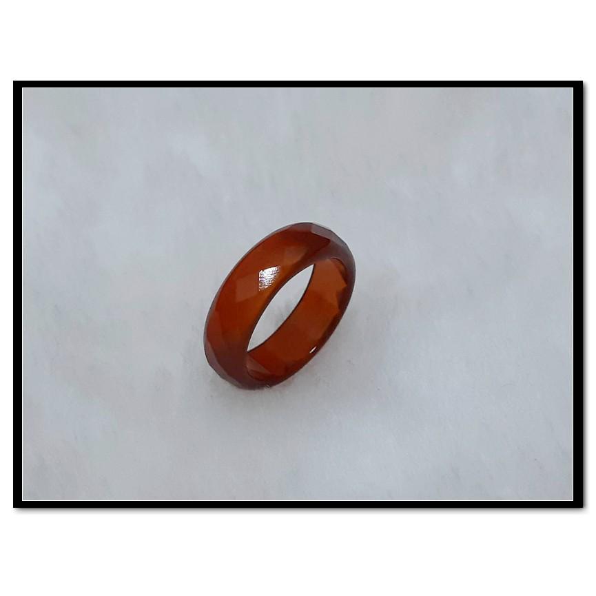 【紅玉髓】瑪瑙戒指 防小人  鑽石切割面