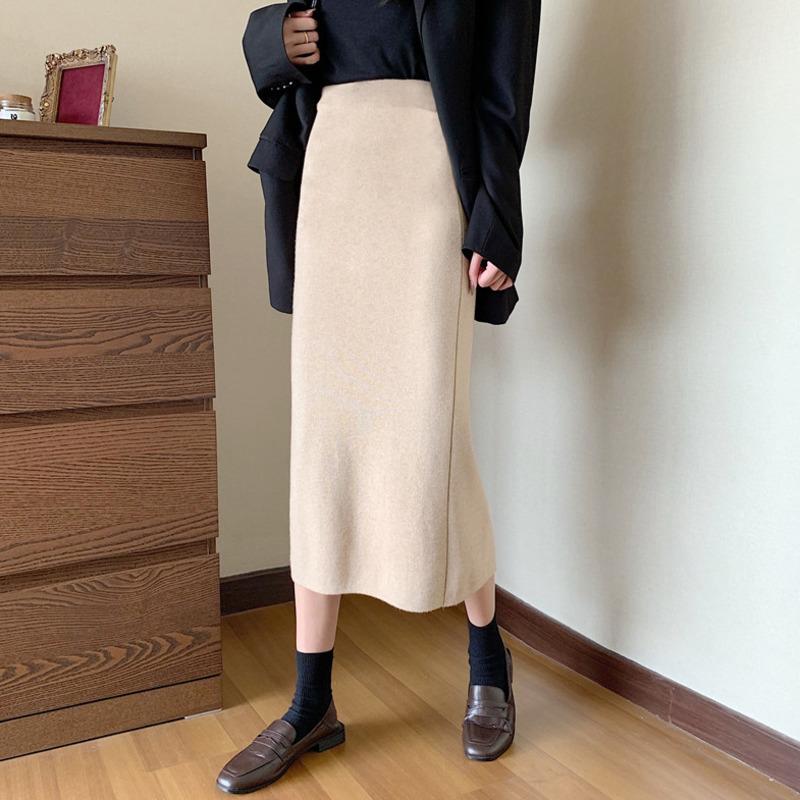 高腰中長裙a字裙開叉裙合身顯瘦時尚減齡復古chic休閒百搭韓妞必備半身裙包臀裙女