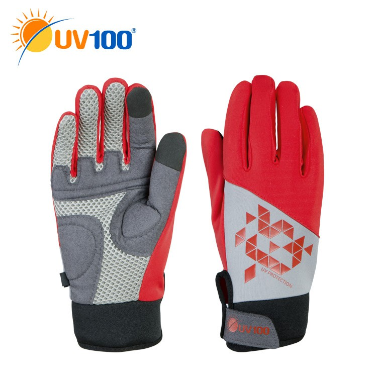 UV100 防曬 抗UV-透氣吸震觸控自行車手套-女【KC71333】