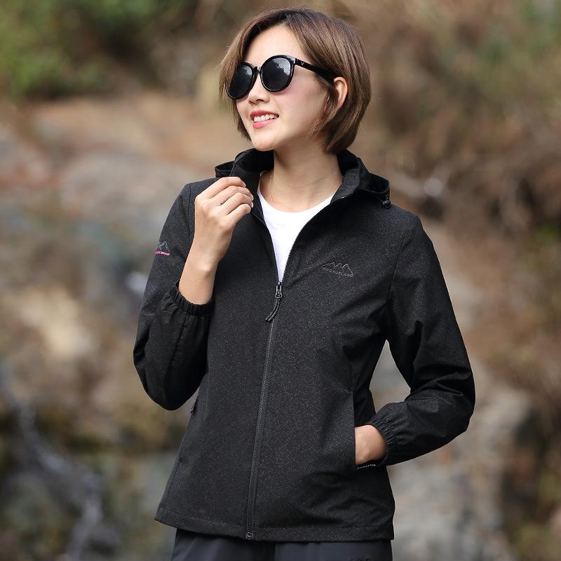 2020風雪狼新款春秋單層衝鋒衣女彈力透氣防水登山服男戶外薄款