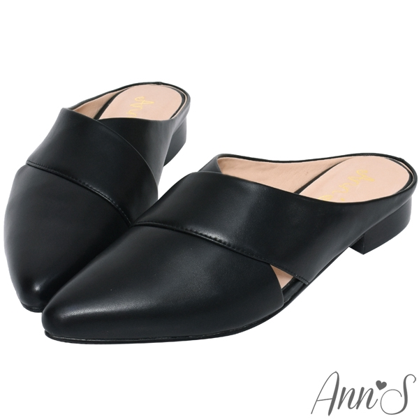 Ann'S高冷維度-交叉V口平底尖頭穆勒鞋-黑