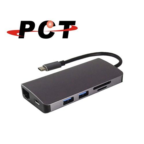 【PCT】USB-C 轉 HDMI/VGA/Audio/USB3.0 x 2/SD&Micro SD讀卡(PK110L)