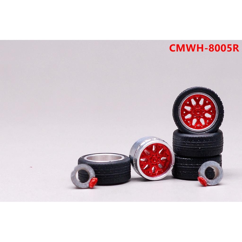 🚕EHC🚗 1:64合金汽車模型改裝配件 11mm 金屬輪轂 橡膠輪胎 紅色 黑色 金色 銀色 05/06