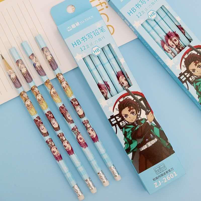 【文具鉛筆】鬼滅之刃HB帶橡皮鉛筆 日本鬼滅之刃動漫筆小學生用品