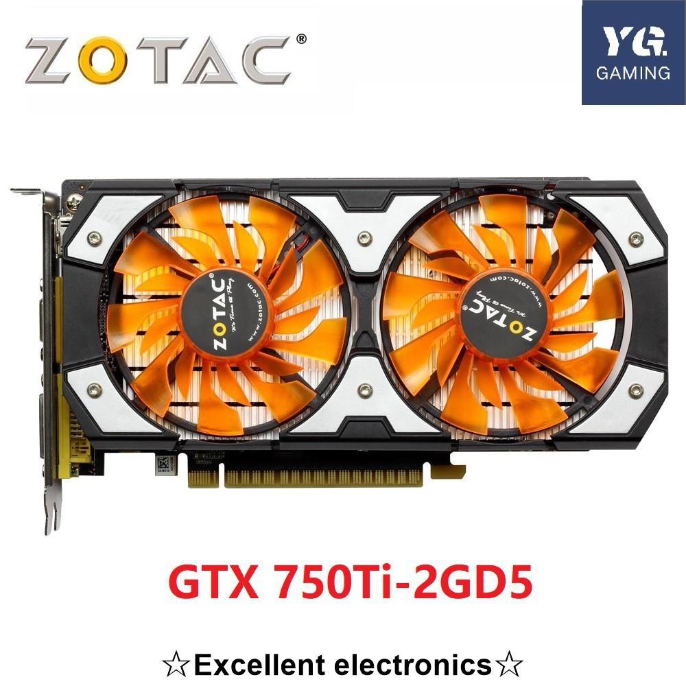 原始的 Zotac 視頻卡 Gtx 750ti 2gb 128bit Gddr5 圖形卡圖, 用於 Nvidia Gtx