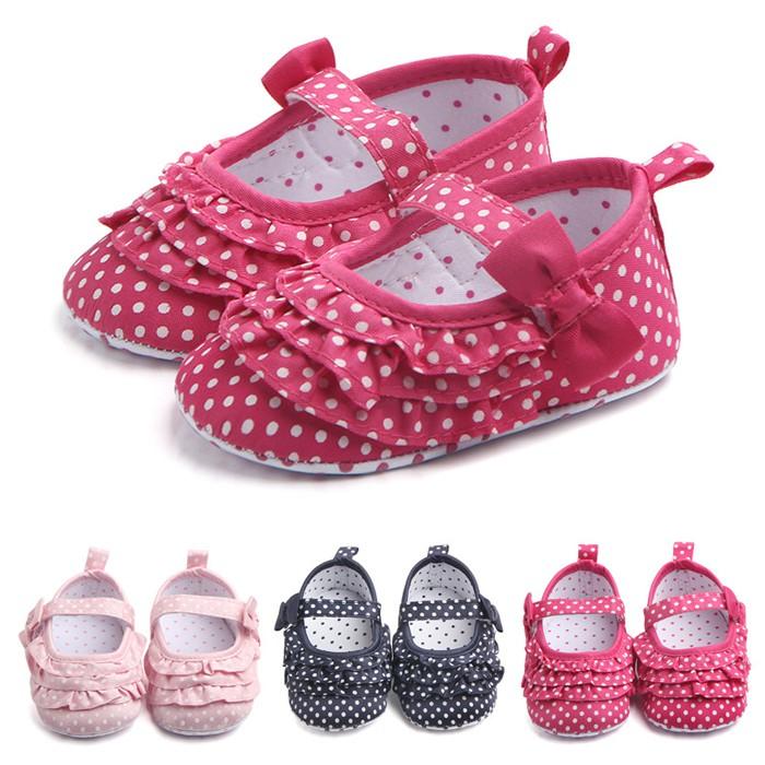 寶寶鞋 學步鞋 點點蝴蝶結 軟底防滑嬰兒鞋 (11-13cm) 公主鞋 MIY1633