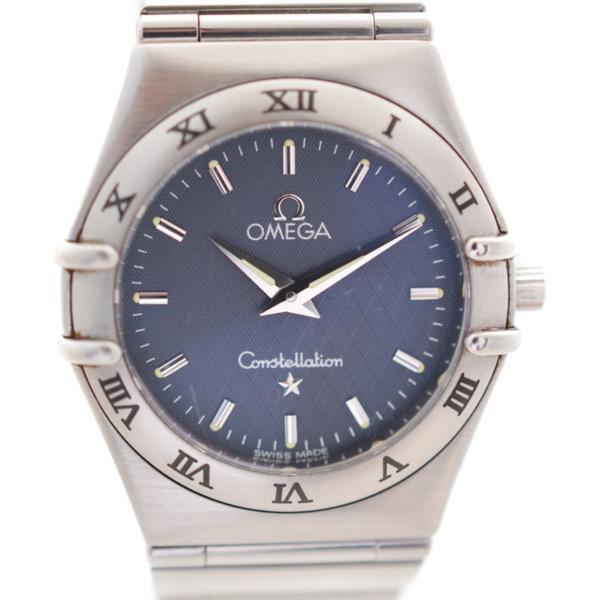 7日無理由更換【二奢】二手歐米茄星座手錶休閒藍盤鋼鏈石英女錶正品真品Omega瑞士腕錶