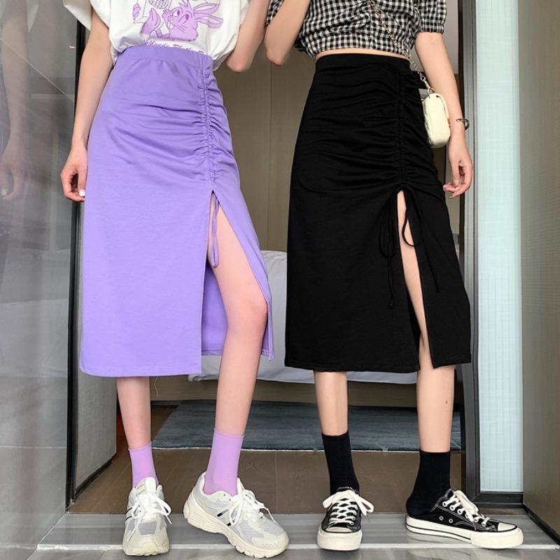 長裙 過膝裙 2020新款設計感抽繩心機開叉裙子網紅閨蜜裝半身裙女夏高腰中長裙