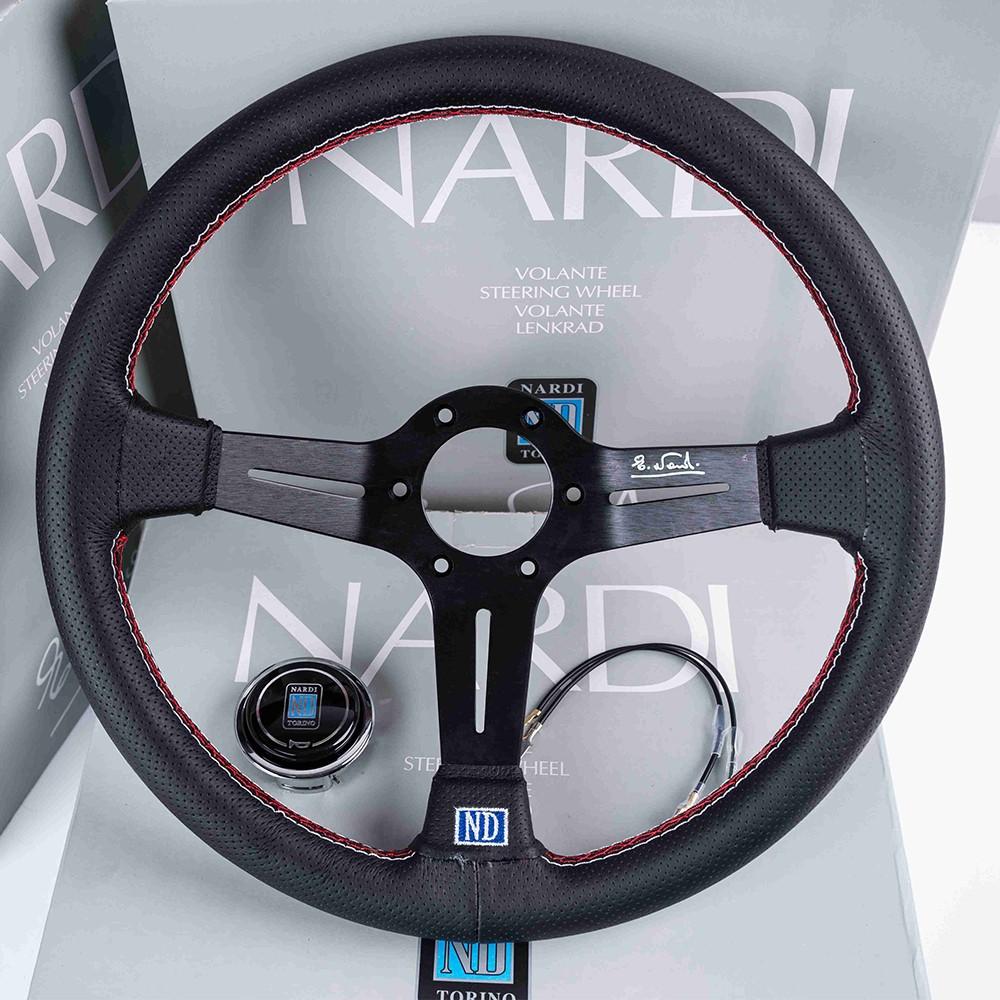 汽車改裝ND黑骨架方向盤 NARDI 14吋350MM#中凹黑色真皮輕量化K5 K8 喜美改裝方向盤