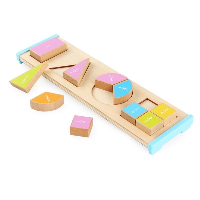 熱賣狂歡木制蒙特梭利教育形狀分割組合認知等分學習板兒童早教益智積木51230