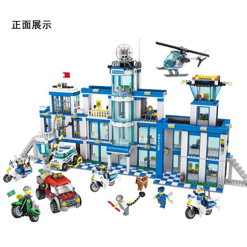 【免運費】兼容樂高積木城市警察局系列兒童拼裝警察總局男孩益智力拼插玩具