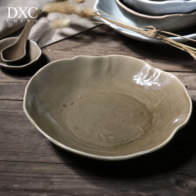 """DXC 好物""DXC 日式創意陶瓷盤子菜盤 個性簡約湯盤深盤中式家用瓷盤碟子L.P"