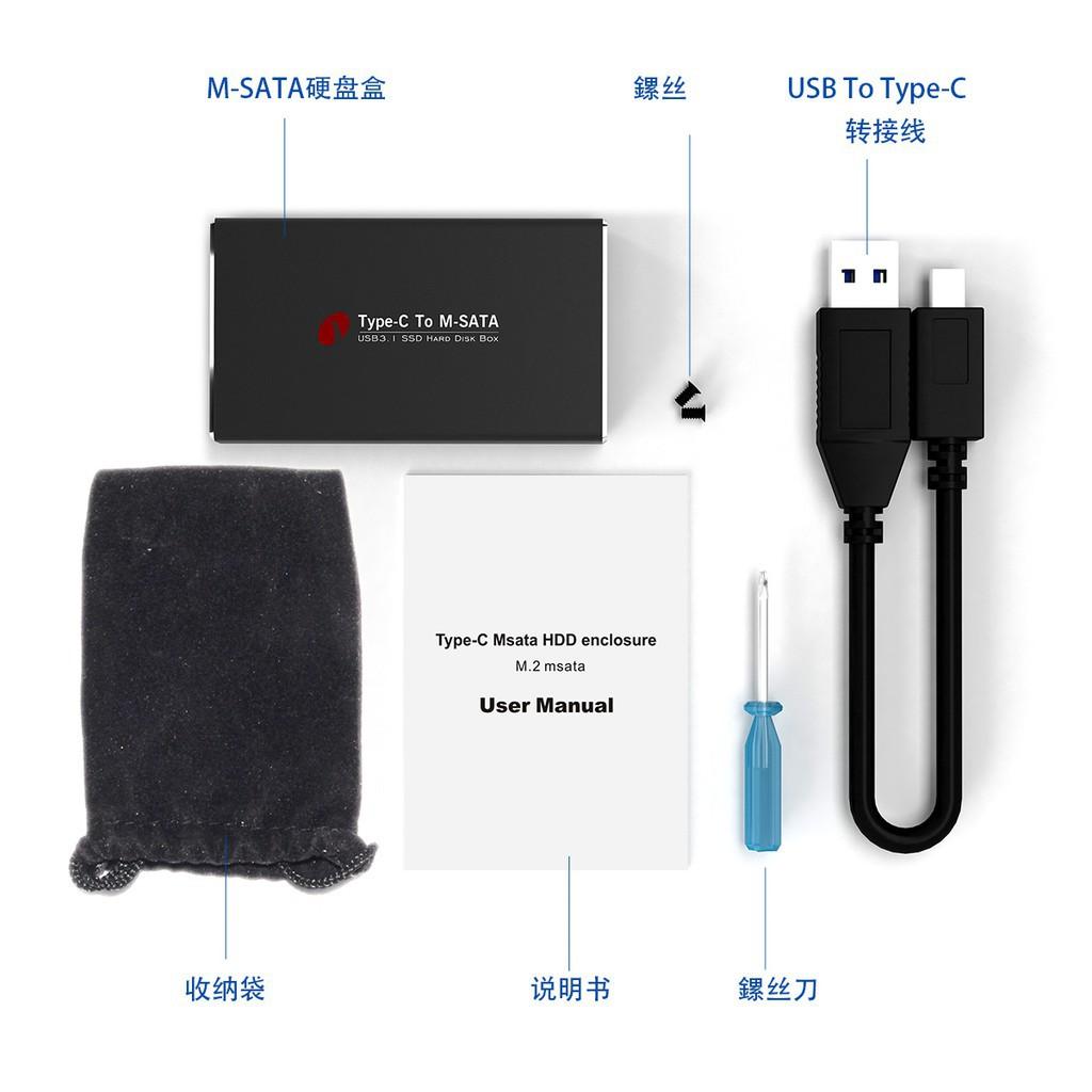 USB3.1 USB-C Type C到MSATA到USB 3.0機箱硬盤盒電纜充電線
