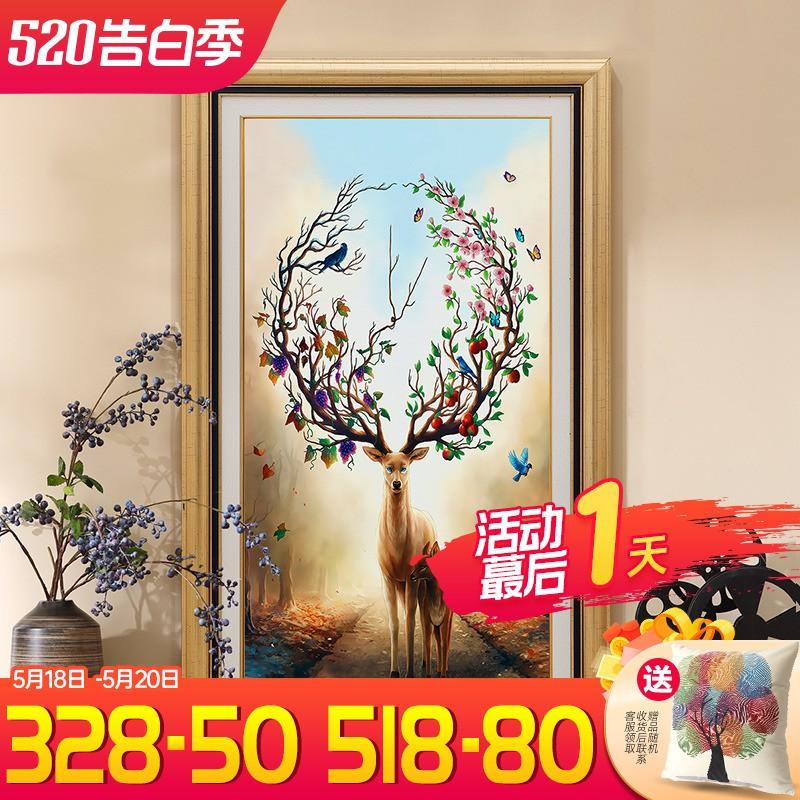 新品/玄關裝飾畫客廳走廊過道掛畫美式壁畫歐式豎版單幅墻畫入戶門廳畫