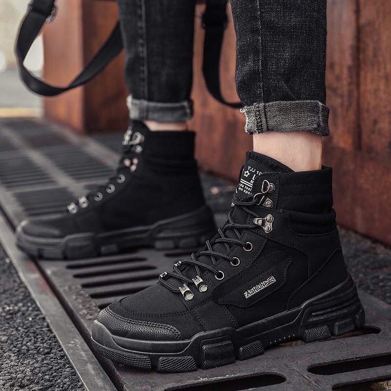 ⭐推薦⭐時尚馬丁靴搭配男黑色高幫青少年帆布工裝鞋戶外工地勞保鞋