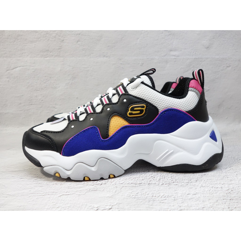 [麥修斯] SKECHERS D'LITES 3.0 休閒鞋 老爹鞋 拼接 女款 12955BKBL