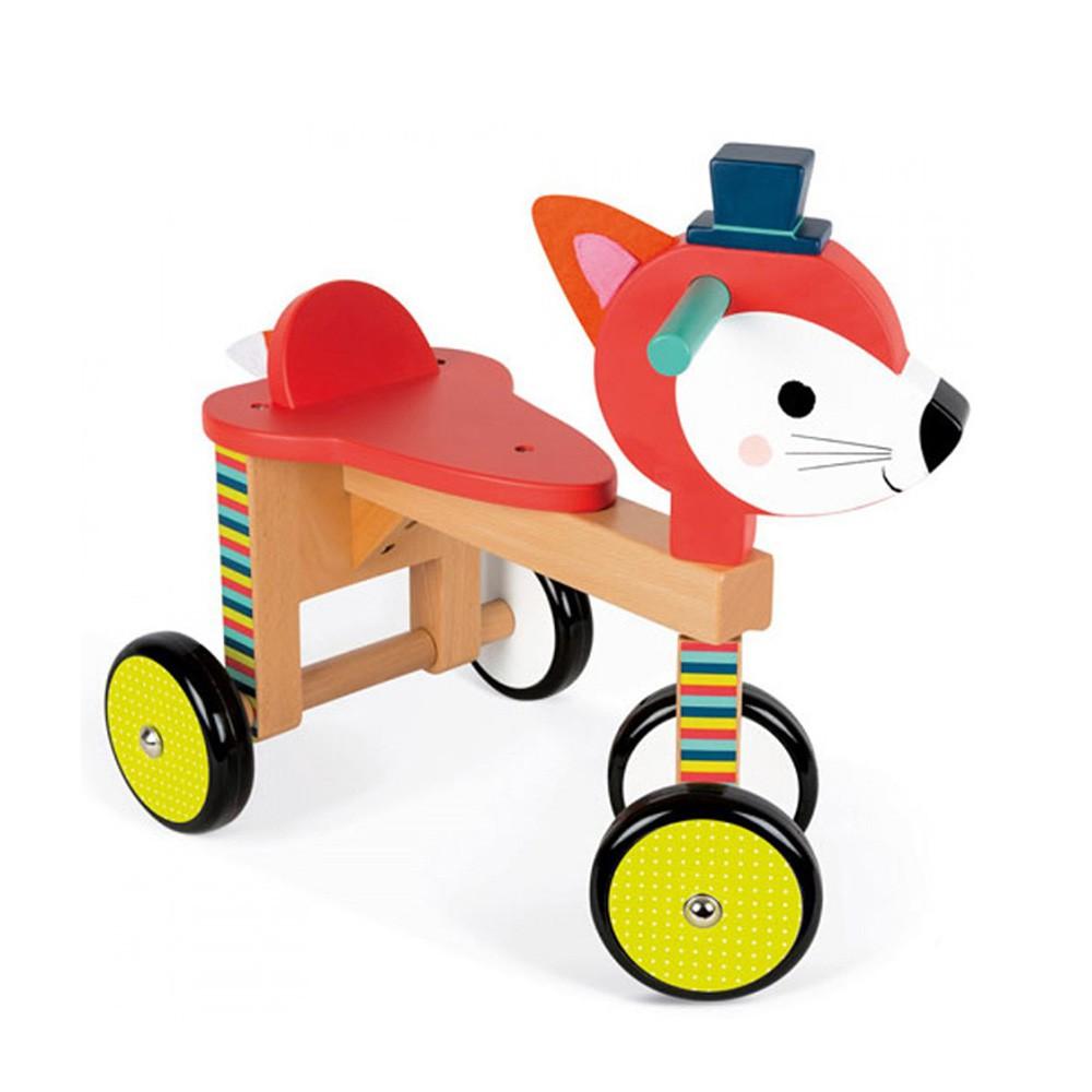 【法國Janod】經典設計木玩-寶寶小狐滑車 木頭玩具 幼兒玩具(LAVIDA官方直營)