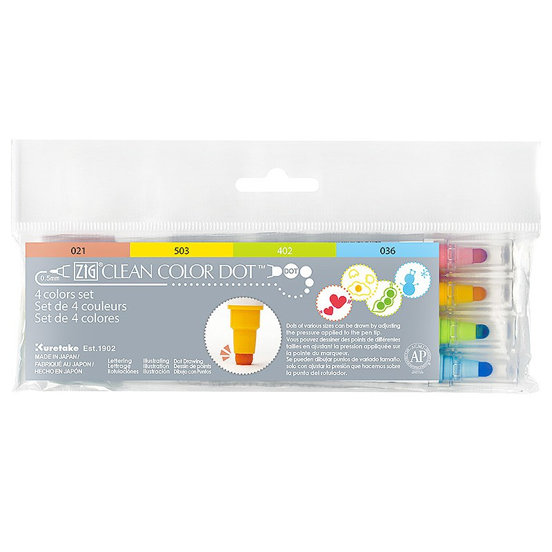 【Kuretake 吳竹】ZIG CLEAN COLOR DOT 雙頭水彩點點筆-4色組 ( TC-6100/4V )