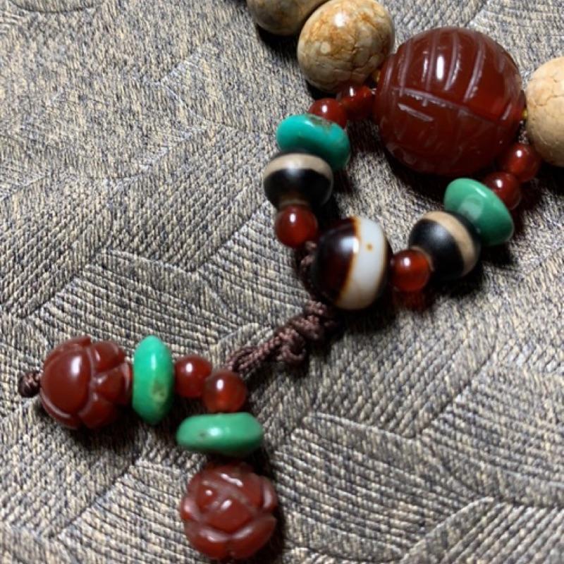 《慈威開運》27顆白龍麟珠 財咒 頂級老礦紅玉髓蓮花 綠松石/土耳其石線珠 唸珠/手鏈/腳鏈