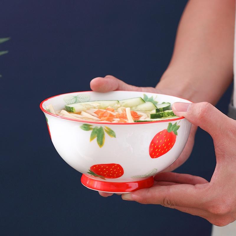 ۩陶瓷手繪草莓7寸花邊沙拉碗 北歐風格家用烘焙手柄鍋雙耳烤盤泡麵碗沙拉碗早餐碗米飯碗