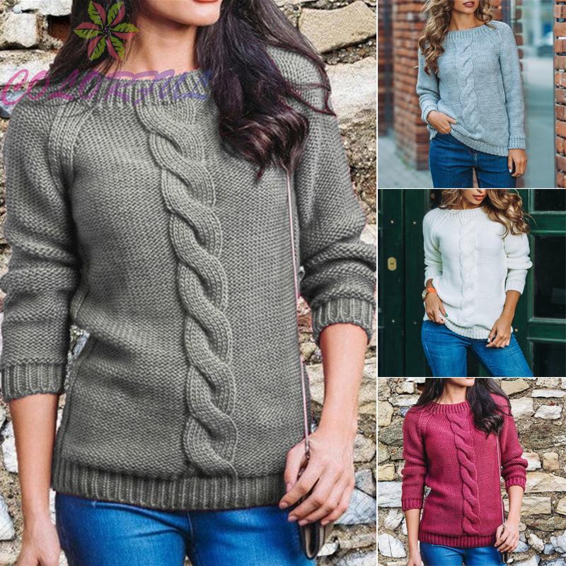 女士女士毛衣保暖套頭衫素色鏤空套頭衫運動衫針織衫圓領女士女士秋冬