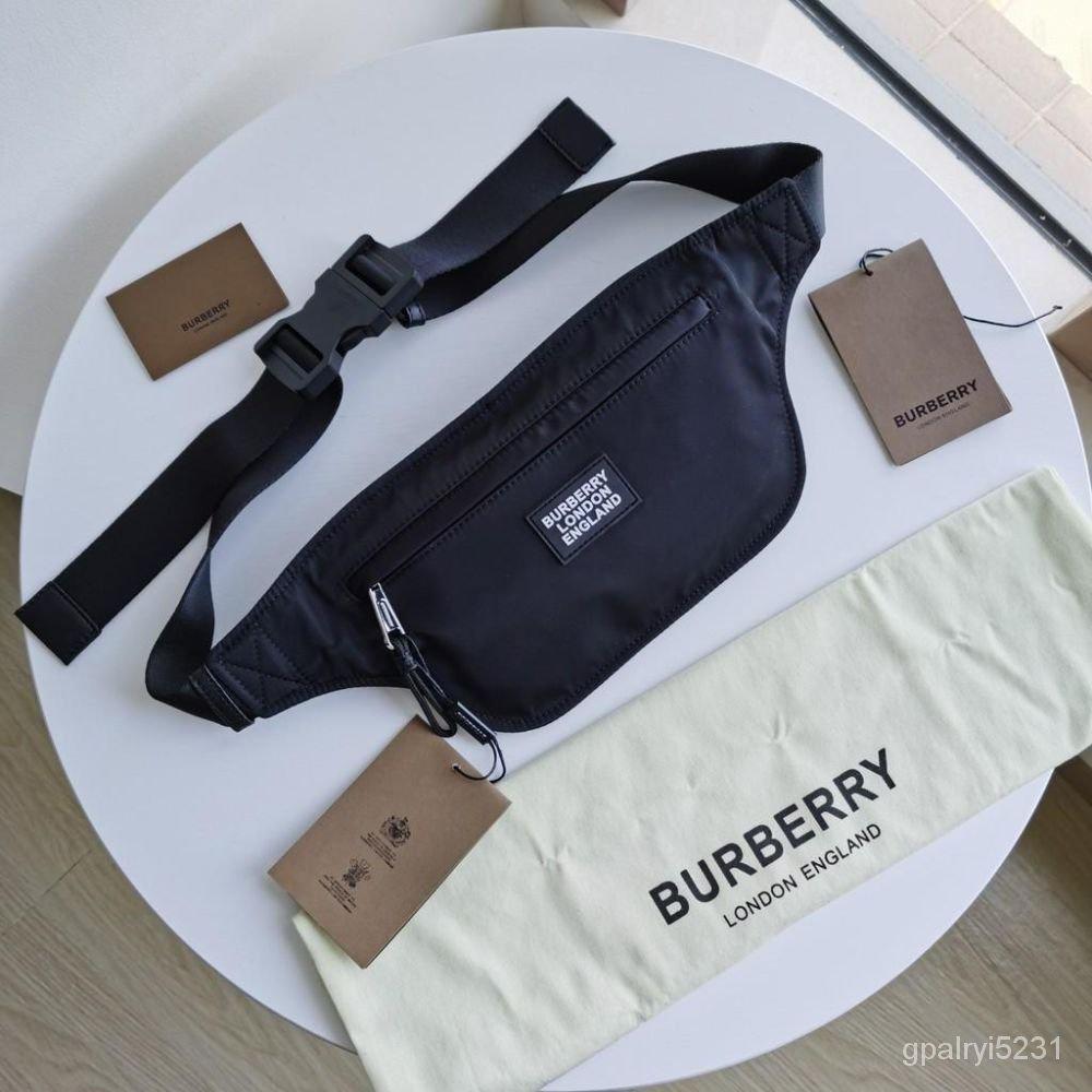二手BURBERRY巴寶莉男包徽標貼花腰包胸包斜挎包  80281461 4Wz2