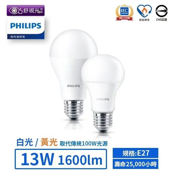【飛利浦PHILIPS】LED球泡燈泡/E27/13W /黃光/白光/(保固一年) 【實體門市保固】