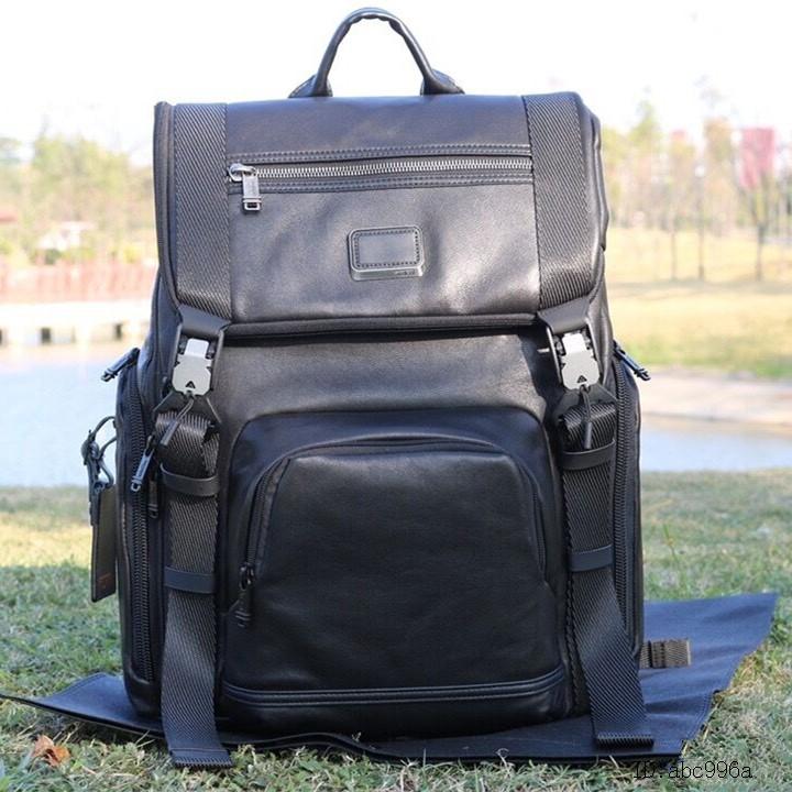 代購TUMI背包 932651 頭層牛皮真皮包包 男生真皮背包 商務休閒後背包 大容量雙肩背包 筆電背包 出差旅行背包