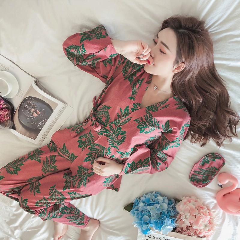 限時搶購日式和服睡衣女夏公主風純棉長袖甜美可愛春秋季家居服套裝可外穿