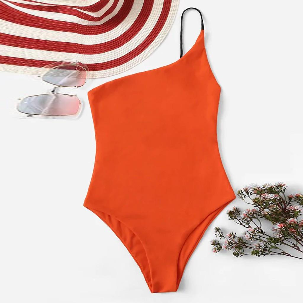 時尚女裝純色一件式比基尼俯臥撑墊泳裝泳裝沙灘裝