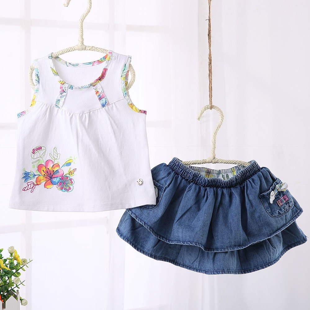 現貨 女童夏裝套裝 新款洋氣小兒童夏季套裙&寶寶裙子兩件套 可批發牛仔