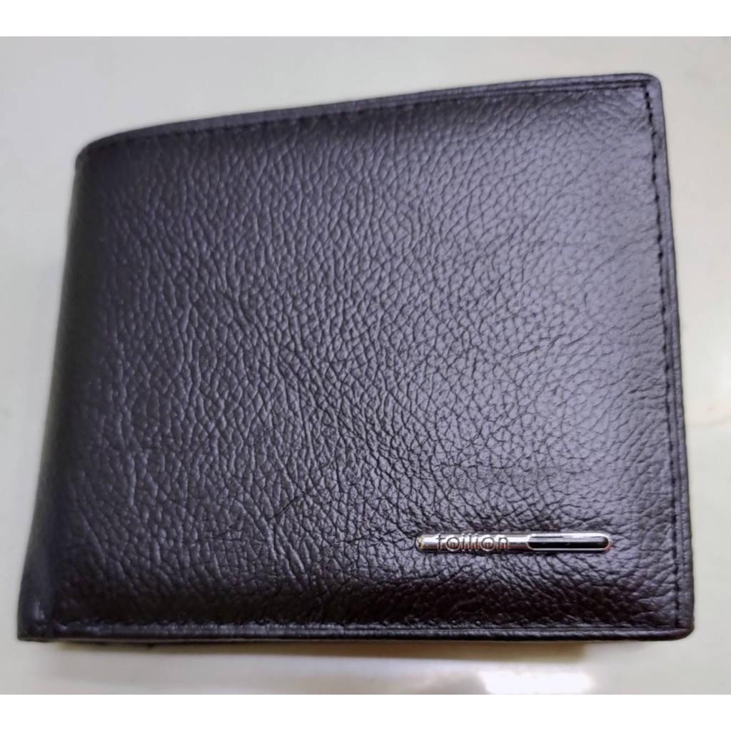真皮 3卡 中間翻窗格雙證件透明格 零錢袋 皮夾-黑色 TAILIAN   雙鈔票層 拉鏈夾層 皮夾 皮包 短夾