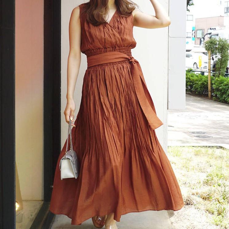 MERCURYDUO [K0351-009] 楊柳皺褶綁帶無袖洋裝(3色)