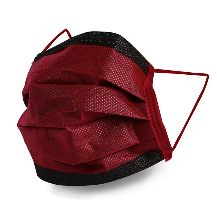 格安德GRANDE 醫用口罩50入/包(撞色酒紅色),雙鋼印平面成人彩色口罩,台灣製造,MIT