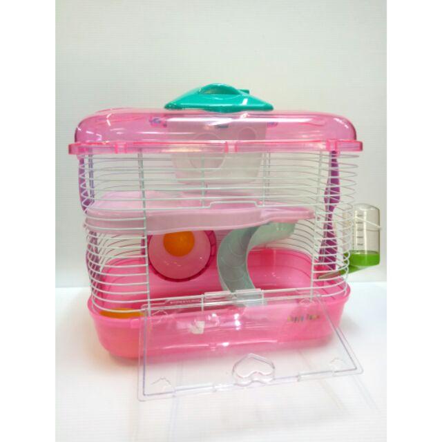 《 小鴨寵物舖 》【Happy Home】豪華寵物鼠籠 雙層倉鼠籠 內附飲水器.飼料杯.滾輪.小房子 適用於黃金鼠楓葉鼠