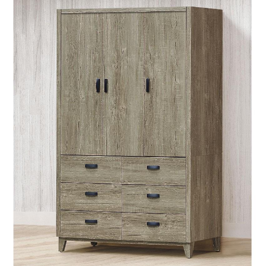 【119cm衣櫃-E204-2】木心板 推門滑門開門 衣服收納 免組裝 【金滿屋】