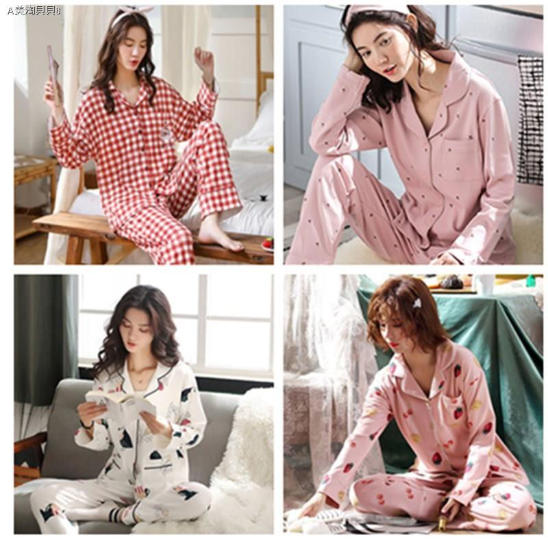๑卐✹Women Pajama Cotton Long Sleeve Pants Loose Suit pyjamas