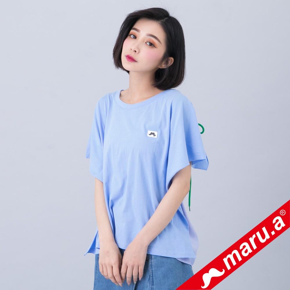 maru.a (93)寬鬆綁帶拼接上衣(淺藍)