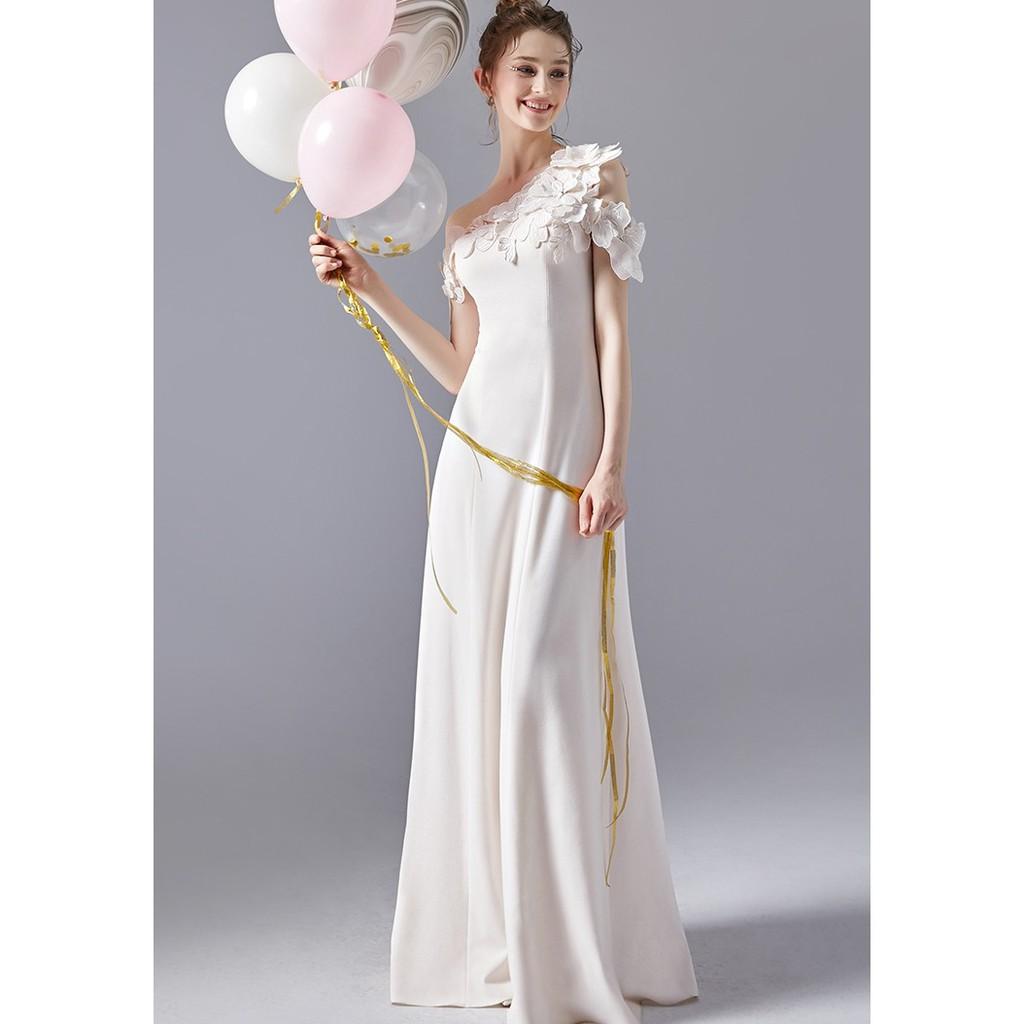 灰姑娘✨訂製✨晚禮服新款淺粉色手工花朵氣質晚會禮服長款單肩顯瘦禮服