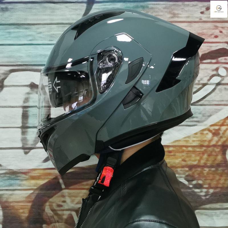 DDY Orz電動摩托車頭盔 男揭面盔 雙鏡片半盔 安全帽個性四季機車頭灰女