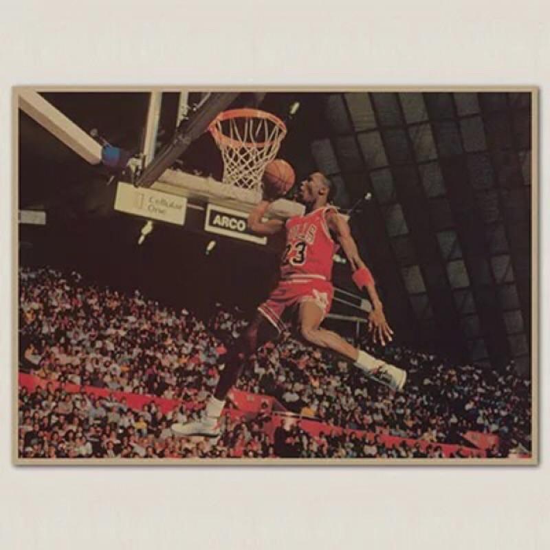 JORDAN NBA海報 喬丹海報 籃球明星 jordan海報 牛皮海報 灌籃