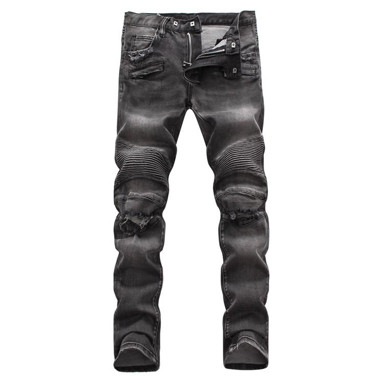 熱賣巴爾曼牛仔褲 歐美風破洞時尚男士牛仔褲Balmain彈力修身小腳第法國時尚牛仔長褲 刀割牛仔褲