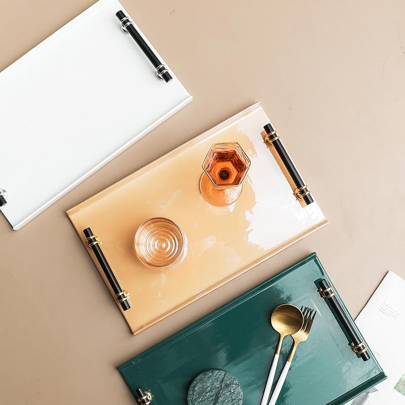 ❈端菜托盤 ❈托盤❈商用❈現貨 WUXIN北歐陶瓷托盤 長方形托盤客廳商用咖啡杯水果杯子 端菜托盤 子