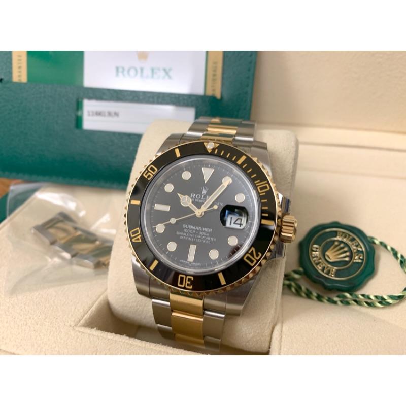 (已收訂)勞力士 Rolex 116613ln 半金黑水鬼 台灣AD極新黑半金 盒單錶節齊全